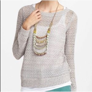 Anthropologie Guinevere Metallic Open Knit Sweater
